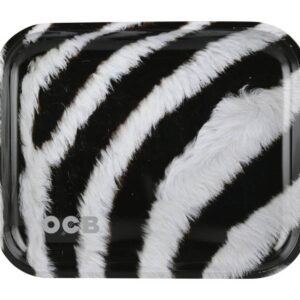 "OCB 14"" x 11"""" Large Metal Rolling Tray – Zebra"