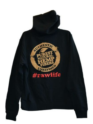 RAW ZIPPER HOODIE BLACK WITH BLACK DRAWSTRING