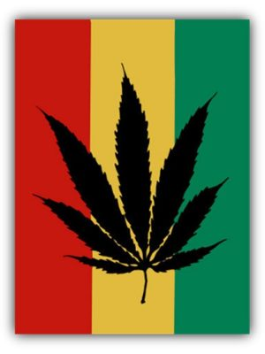 Rasta Marijuana Leaf Flag