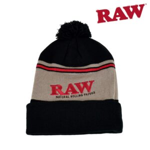 RAW POMPOM HAT BLACK / BROWN