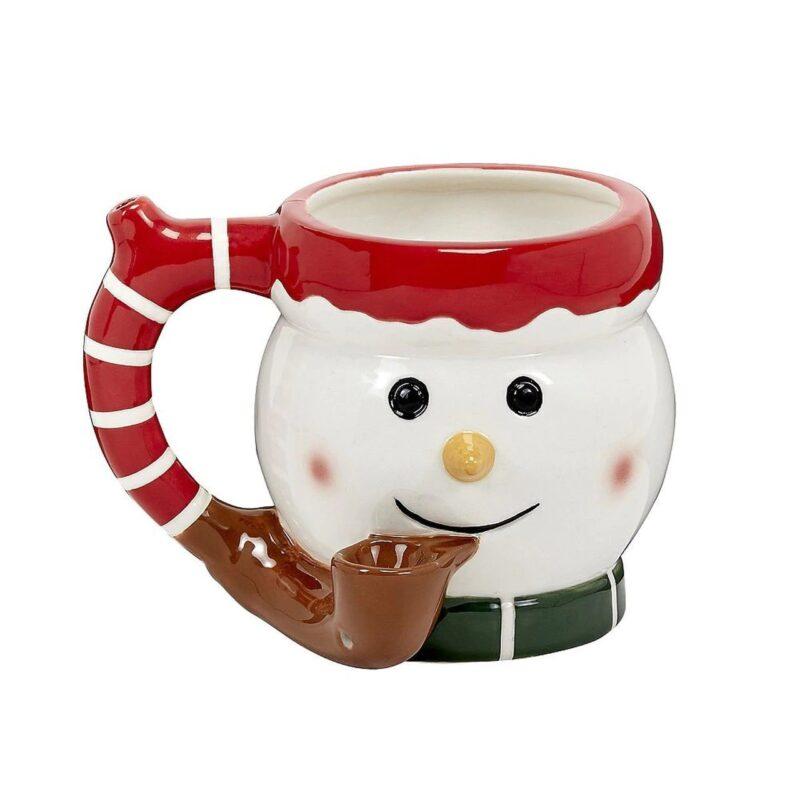 Premium Roast & Toast Ceramic Mug w/ Pipe - Snowman