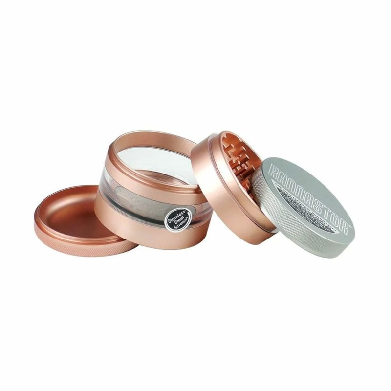 "Kannastor Solid Top & Jar Body 4-Piece w/ Easy Clean Screen - 2.5"" - Rose Gold"