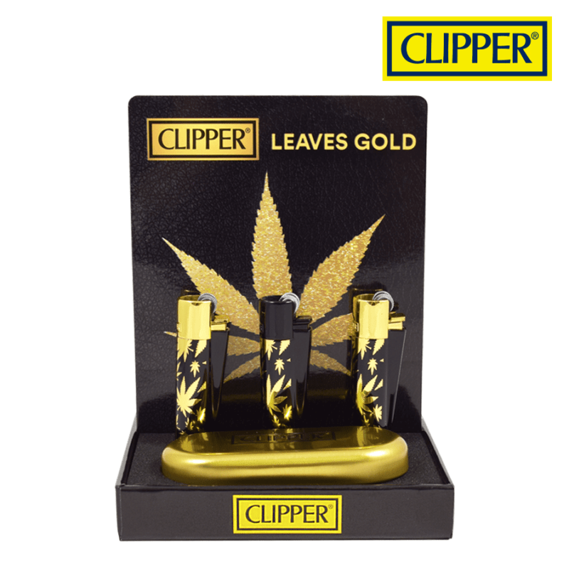 CLIPPER LEAVES GOLD METAL LIGHTERS COLLECTION