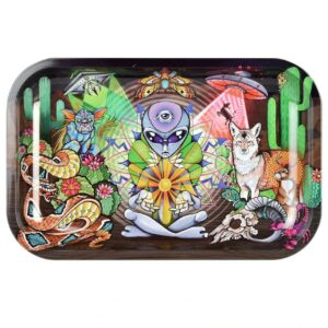"Pulsar 11"" x 7"" Metal Rolling Tray - Alien Life Force"