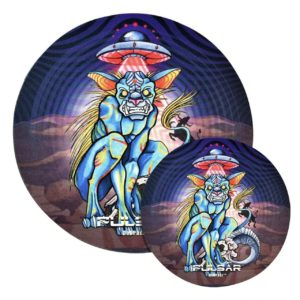 "Pulsar DabPadz Round Fabric Top 1/4"" Thick - Psychedelic Chupacabra"