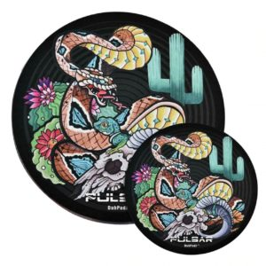"Pulsar DabPadz Round Fabric Top 1/4"" Thick - Psychedelic Rattlesnake"