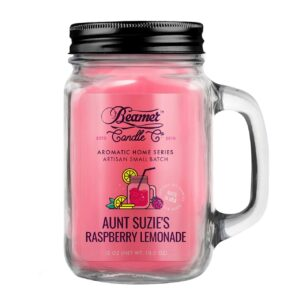 Beamer Candle Co. Aunt Suzie's Raspberry Lemonade 12oz Glass Mason Jar