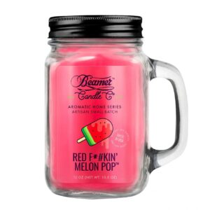 Beamer Candle Co - 12oz Glass Mason Jar - Red F*#kin' Melon Pop