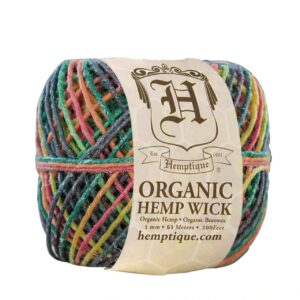 Hemptique Beeswaxed Hemp Cord - #20 200FT(61m) - Variegated Rainbow