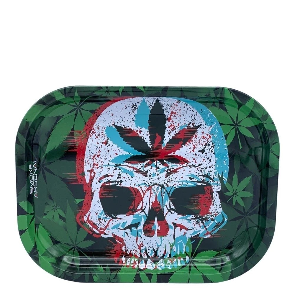 Leaf Skull Metal Tray With 3-D Magnetic Premium Tray Cover Bundle &Bull; 2021