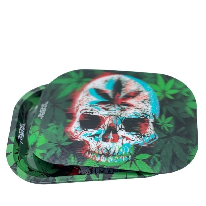 Leaf Skull Metal Tray With 3-D Magnetic Premium Tray Cover Bundle